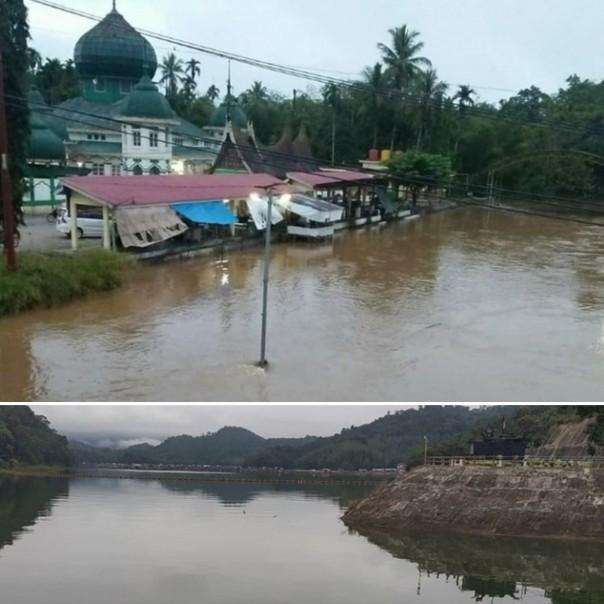 Kondisi air di Pangkalan dan pintu waduk PLTA Koto Panjang pada Rabu (12/2/2020).
